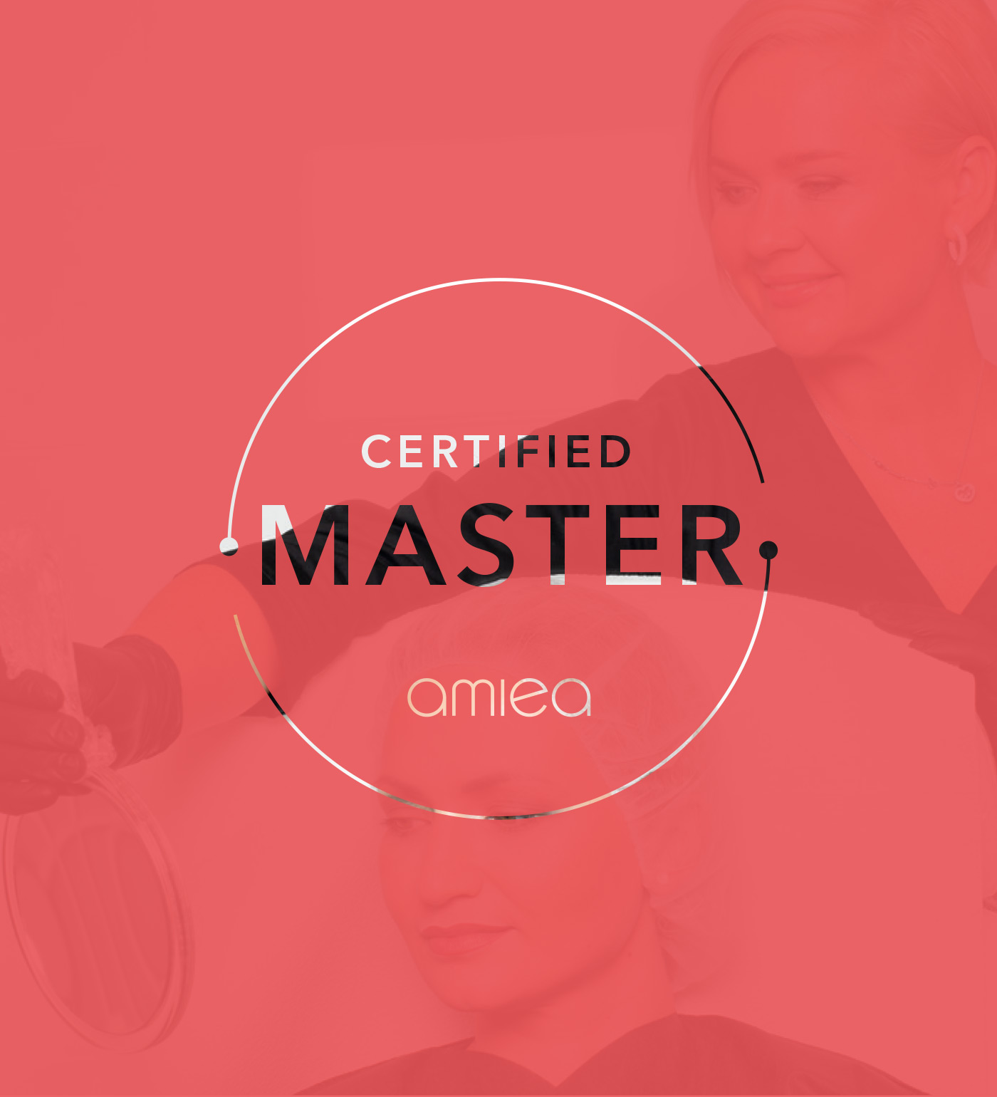 Logo of amiea certified Master on red background