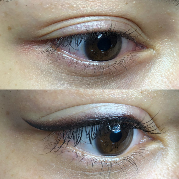 eyes with permanent make-up (PMU), example PMU treatment eyes, close-up, comparison before and after