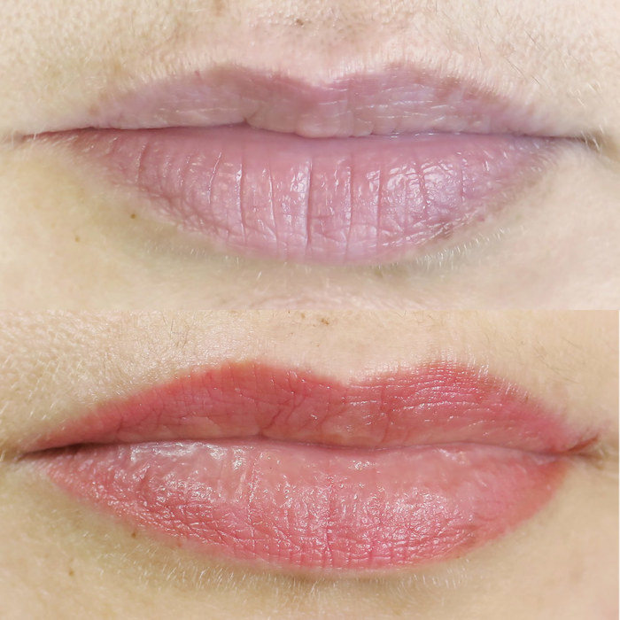 natural lips with permanent make-up (PMU), example of lip treatment, comparison before and after