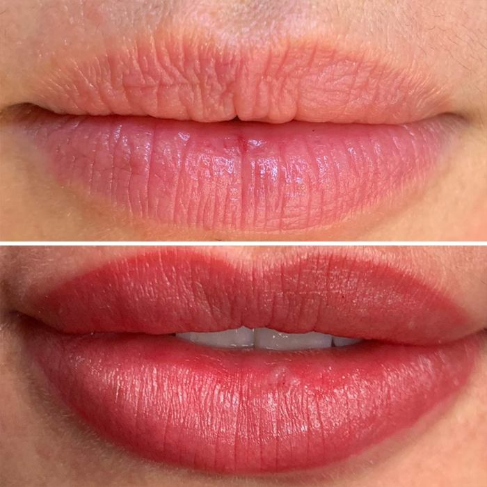 Lips with permanent makeup (PMU) by amiea International Master Trainer Camilla Mello, example PMU lips, close-up, comparison before and after