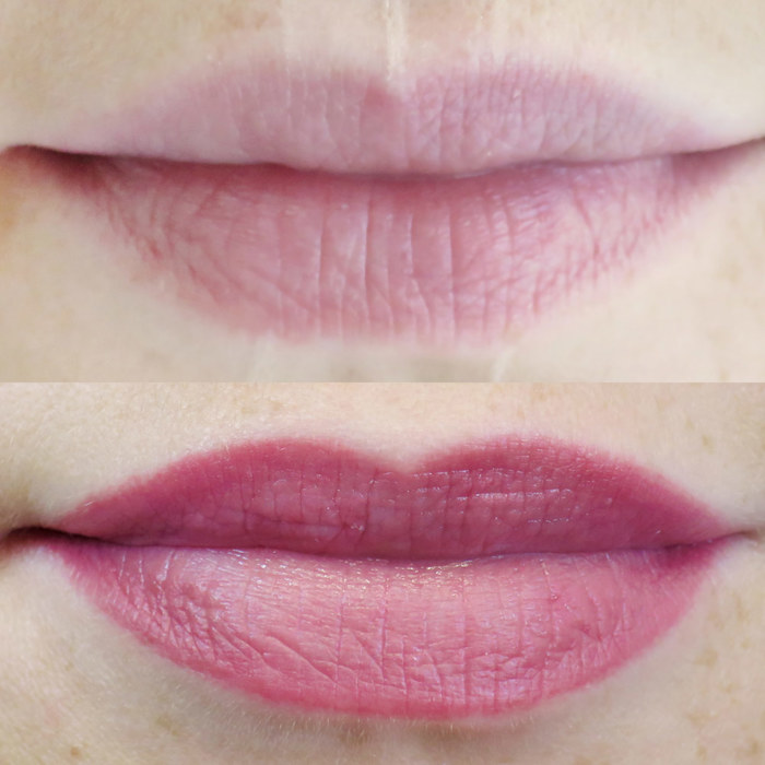 natural lips with permanent makeup (PMU), example of lip treatment, comparison before and after