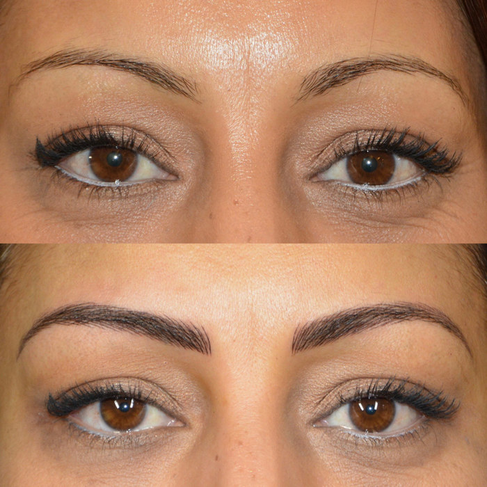 natural eyebrows with permanent make-up (PMU), example PMU treatment eyebrows, close-up, comparison before and after