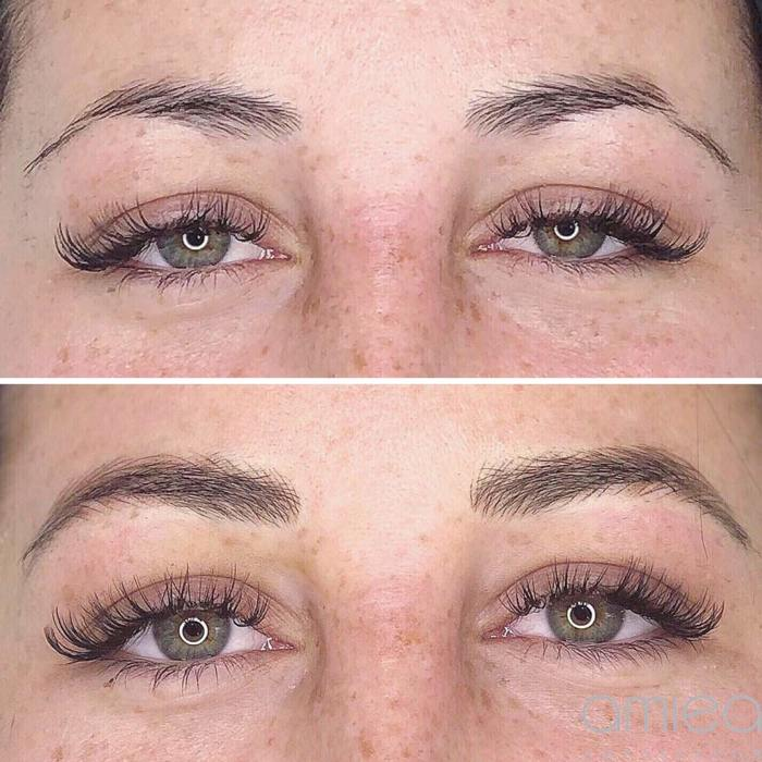 Natural eyebrows with permanent makeup (PMU) by amiea International Master Trainer Marie Adkins, example PMU treatment eyebrows, close-up, comparison before and after