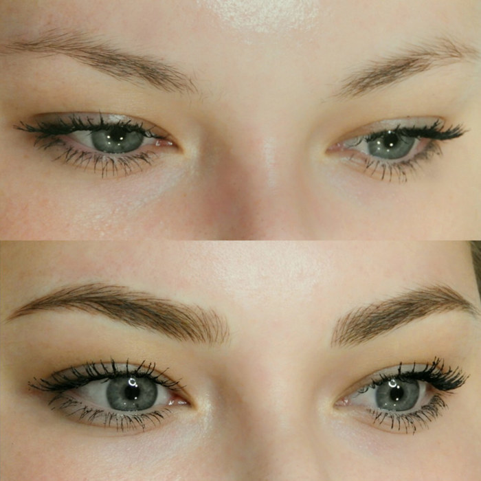eyes with permanent makeup (PMU), example PMU treatment eyes, close-up, comparison before and after