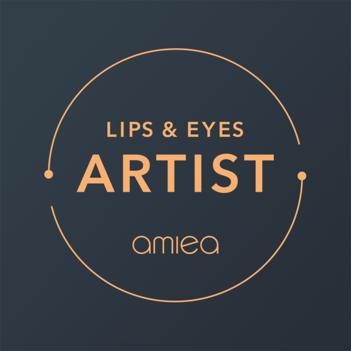 Icon for amiea academy PMU for lips and Eyes on a dark grey background
