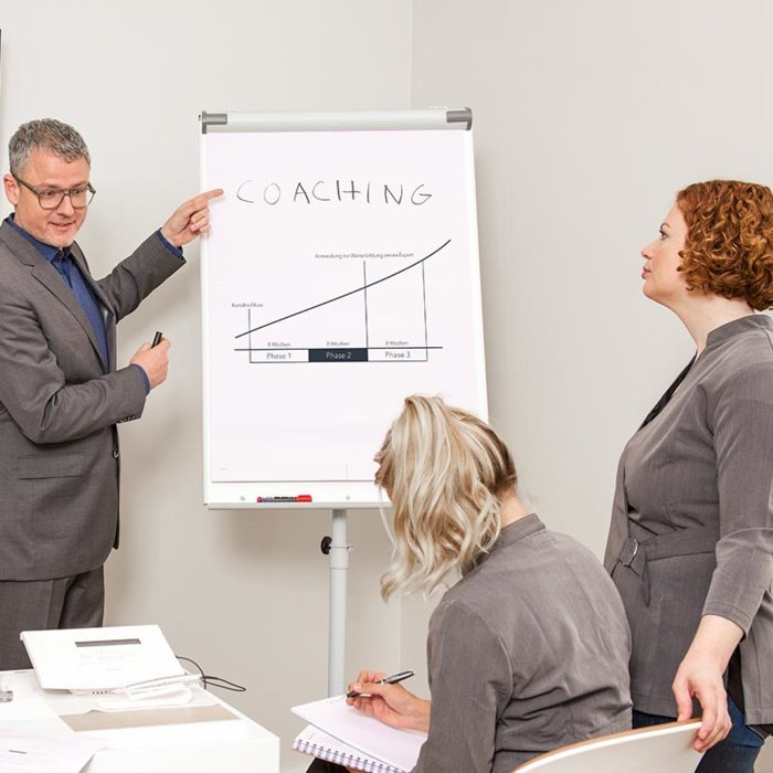 amiea Trainer showing a board and coaching 2 students in a amiea Academy Class