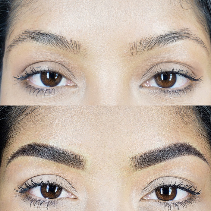 natural eyebrows with permanent makeup (PMU), example PMU treatment eyebrows, close-up, comparison before and after