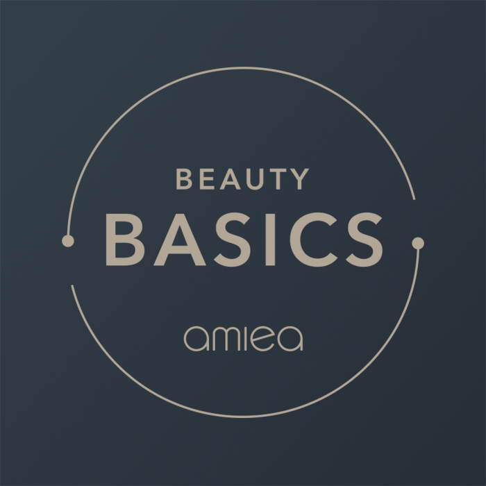 Icon for amiea beauty basics level 0 on a dark grey background