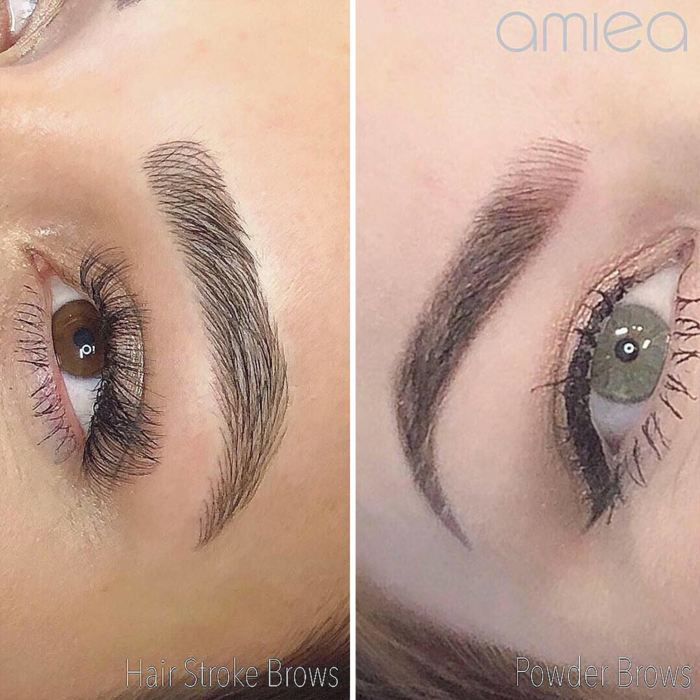 Natural eyebrows with permanent makeup (PMU) by amiea International Master Trainer Marie Adkins, example PMU treatment eyebrows, close-up
