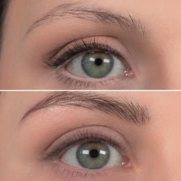 picture before and after amiea permanent makeup on woman's eyebrows and eyes