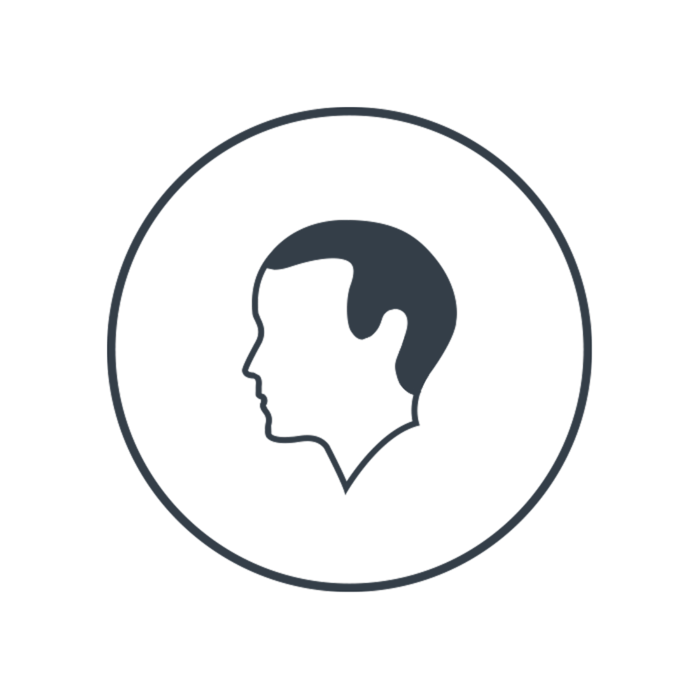 Grafic, Profile of a man, grey icon on transparent background