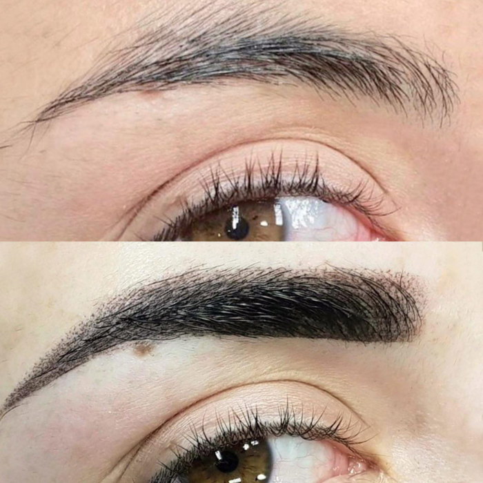 eyebrows with permanent makeup (PMU), example PMU treatment eyes, close-up, comparison before and after