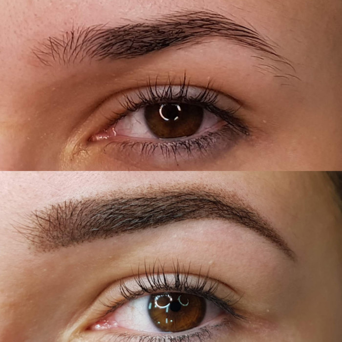 eyebrows with permanent make-up (PMU), example PMU treatment eyebrows, close-up, comparison before and after