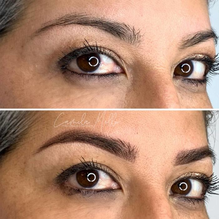 Natural eyebrows with permanent makeup (PMU) by amiea International Master Trainer Camilla Mello, example PMU treatment eyebrows, close-up, comparison before and after