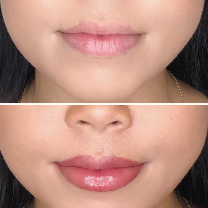 Lips with permanent makeup (PMU) by amiea International Master Trainer Marie Adkins, example PMU lips, close-up, comparison before and after