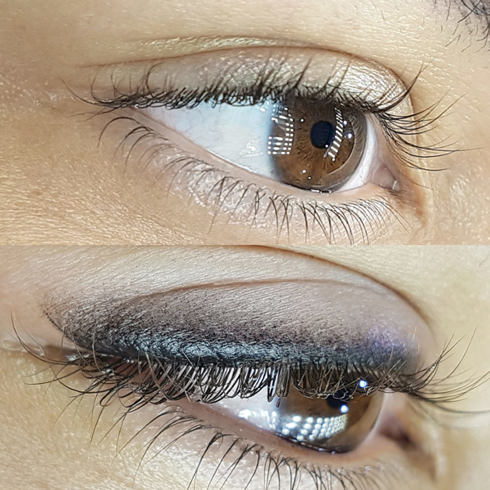 Natural eyes with permanent makeup (PMU), example PMU treatment eyes, close-up, comparison before and after