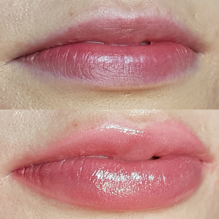 lips with permanent makeup (PMU) by amiea International Master Trainer Alevtina Hyvönen, example lip treatment, close-up, comparison before and after