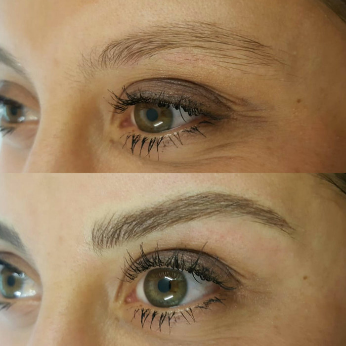 eyebrows with permanent make-up (PMU), example PMU treatment eyes, close-up, comparison before and after