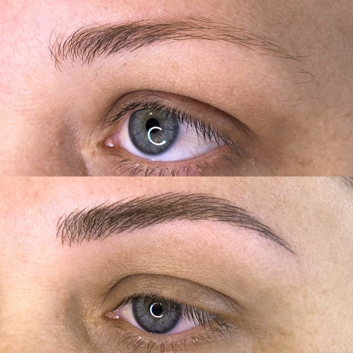 natural eyebrow makeup with permanent make-up (PMU), example PMU treatment eyes, close-up, comparison before and after