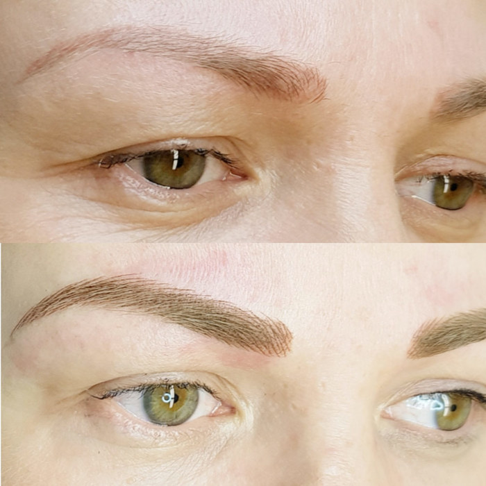 Natural eyebrows with permanent makeup (PMU) by amiea International Master Trainer Alevtina Hyvönen, example PMU treatment eyebrows, close-up, comparison before and after