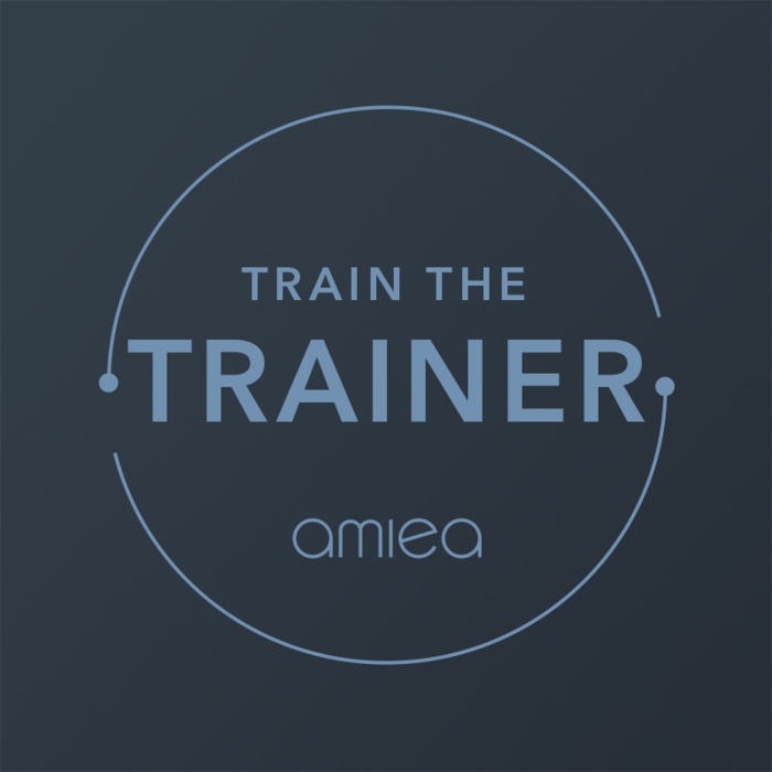 Icon for amiea train the trainer level 4 on dark grey background