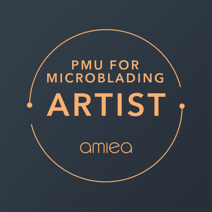 Icon for amiea academy PMU for microblading on a dark grey background