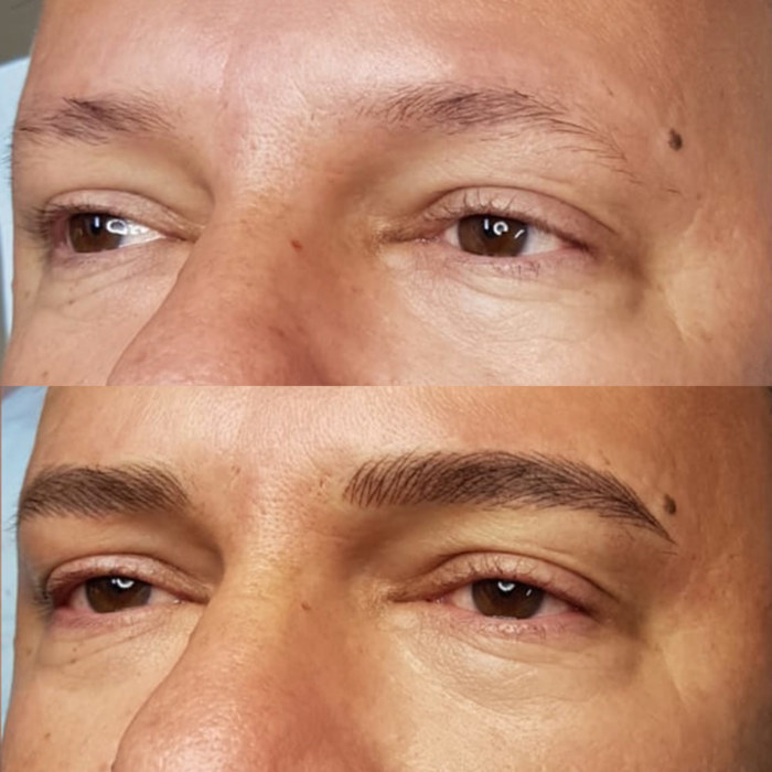 man with natural eyebrows with permanent make-up (PMU), example PMU treatment eyebrows, close-up, comparison before and after