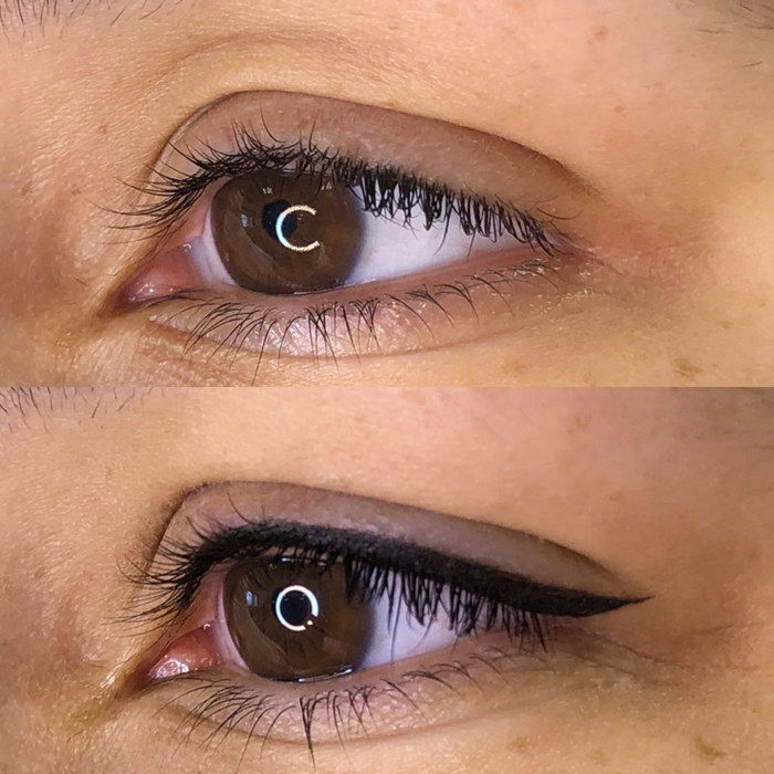 natural eye make-up with permanent make-up (PMU), example PMU treatment eyes, close-up, comparison before and after