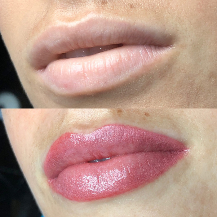 pink lips with permanent makeup (PMU) by amiea International Master Trainer Suzé Steyl, example of lip treatment, comparison before and after