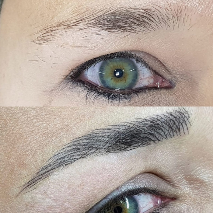 natural eyebrows with permanent makeup (PMU) by amiea example PMU treatment eyebrows, close-up, comparison before and after