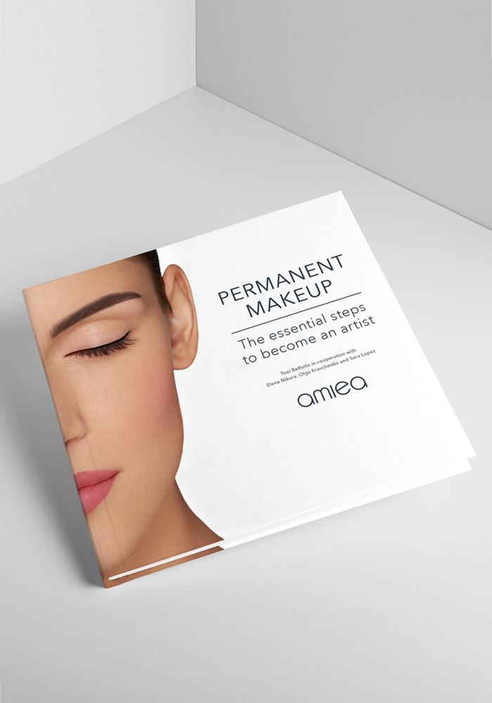 """Permanent makeup"" book from amiea International Master Trainers Toni Belfatto, in cooperation with Elena Nikora, Olga Kravchenko and Sara Lopez."