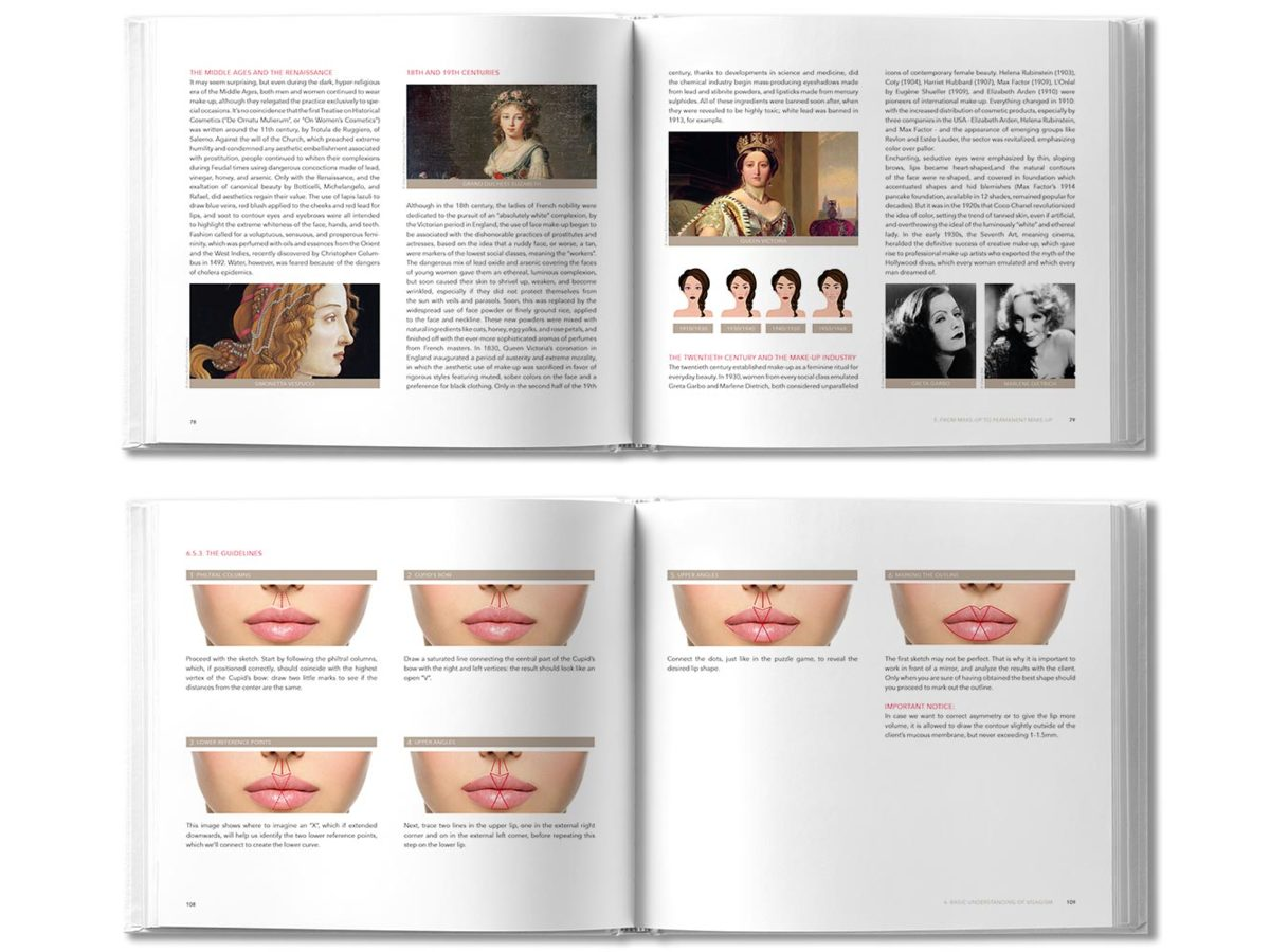 a picture of 2 spreads from amiea training book with examples of photographs and text