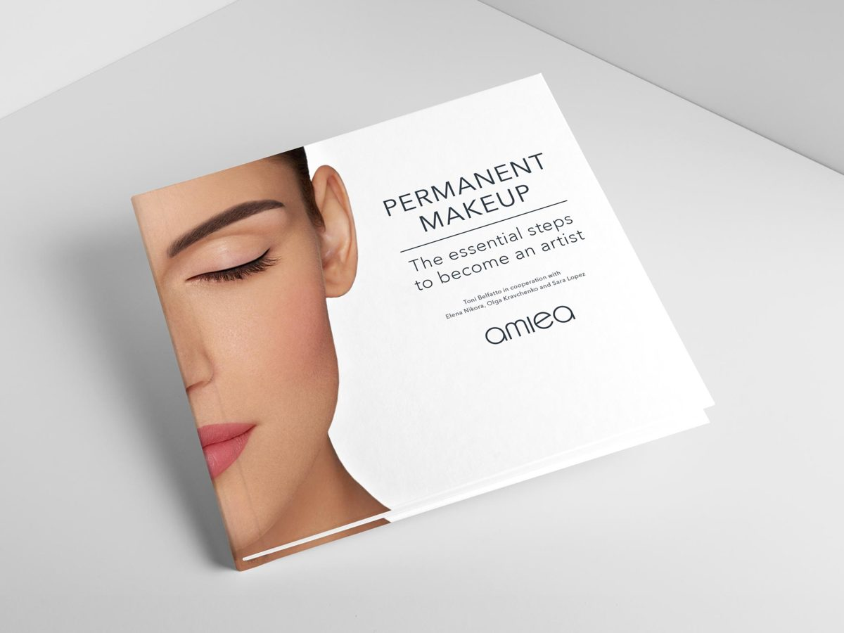 amiea Permanent Makeup book, on a light grey background